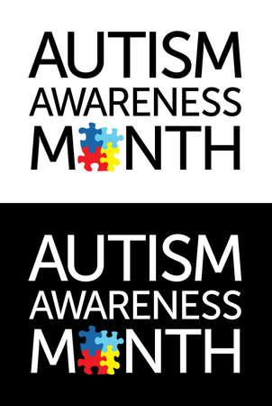 """enfermedades mentales: Las palabras """"Autism Awareness Month"""", con piezas de un rompecabezas. Colores y s�mbolos conciencia del autismo, siempre convenientemente sobre un fondo claro y oscuro. Vector EPS 10 disponible. Vectores"""