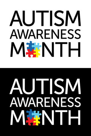 The words 'Autism Awareness Month' with jigsaw puzzle pieces. Autism Awareness colors and symbols, conveniently provided on a light and dark background. Vector EPS 10 available. Vector