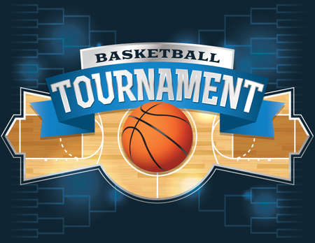 A vector illustration of a basketball tournament concept.  Ilustração