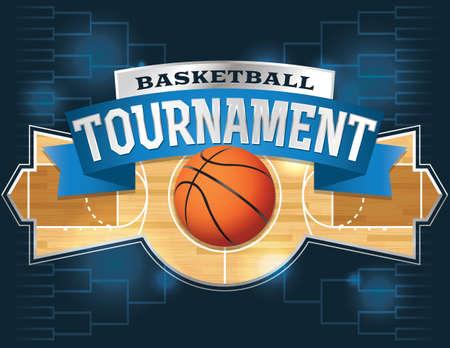 cancha de basquetbol: Una ilustración vectorial de un concepto de torneo de baloncesto.