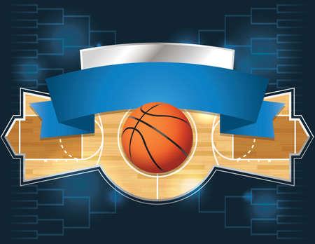 cancha de basquetbol: Una ilustración vectorial de un concepto de torneo de baloncesto Vectores