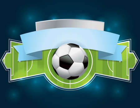 soccer field: A vector illustration of a soccer - football badge with banner.  File contains transparencies and gradient mesh. File is well layered.