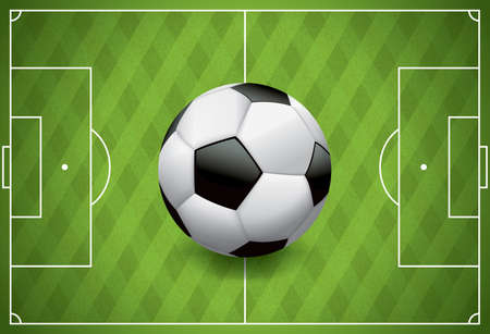 soccer goal: A realistic football  soccer ball on a textured grass playing field.