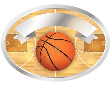 An illustration of a basketball court and banner.  Ilustração