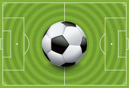 sideline: Una pelota de f�tbol  f�tbol realista en un campo de juego de hierba con textura. Vectores
