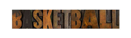 The word BASKETBALL written in vintage letterpress type photo