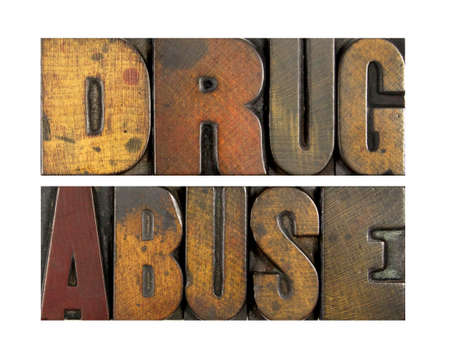 The words DRUG ABUSE written in vintage letterpress type