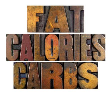 obesidad infantil: Las palabras de calor�as de grasa CARBS escritos en tipo de tipograf�a de �poca