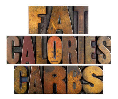 childhood obesity: The words FAT CALORIES CARBS written in vintage letterpress type Stock Photo