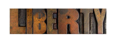 liberties: The word LIBERTY written in vintage letterpress type Stock Photo