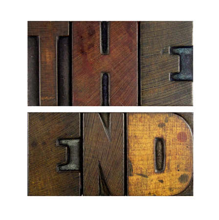 The words THE END written in vintage letterpress type photo