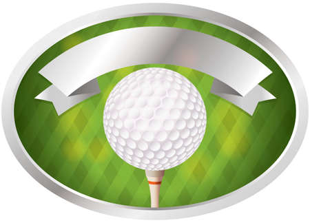 An illustration of a golf ball on tee emblem. Room for copy space. Vector EPS 10 file available. EPS file contains transparencies.