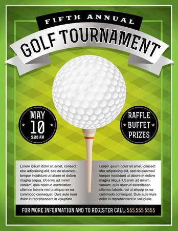 Een illustratie van een golf flyer. Perfect voor golf toernooien en evenementen. EPS 10-bestand beschikbaar. EPS-bestand is gelaagde voor eenvoudige update van uw tekst.