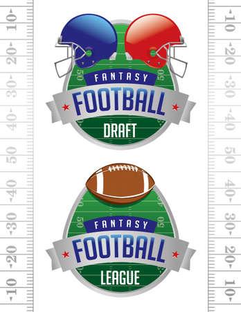 sideline: Una ilustraci�n de insignias Americana Fantasy Football.