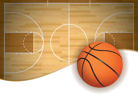 An illustration of a basketball court and ball background.
