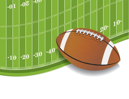 An illustration of an American Football field and ball background.  Vector