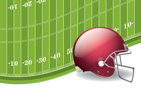An illustration of an American Football field and helmet background. Illustration