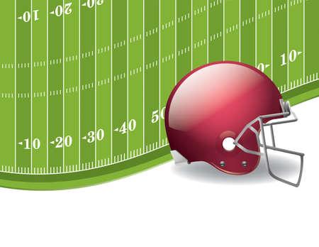 Een illustratie van een American Football veld en helm achtergrond.