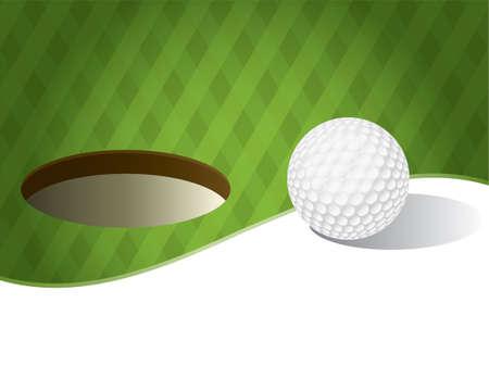 Een illustratie van een golfbal op een groene achtergrond. Ruimte voor kopie ruimte. Vector EPS-10 beschikbaar. EPS bevat transparanten. Stock Illustratie