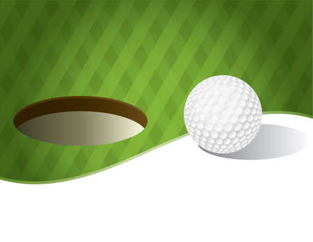 An illustration of a golf ball on a green background. Room for copy space. Vector EPS 10 available. EPS contains transparencies.