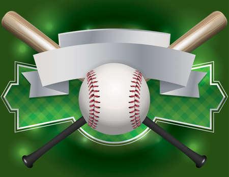 campo de beisbol: Una ilustración de un bate de béisbol y el emblema y la bandera.