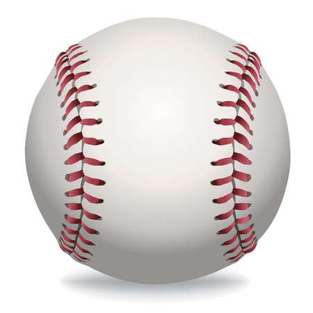 An illustration of a realistic baseball isolated on white.  Ilustração
