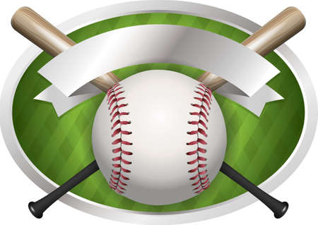 An illustration of a baseball and bat banner. Room for copy.  Vector