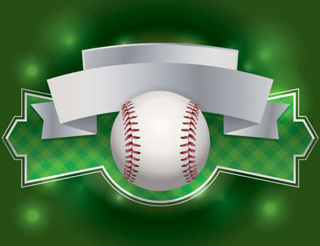 league: An illustration of a baseball emblem and banner. Room for copy.