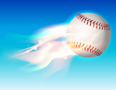 fastball: An illustration of a flaming baseball flying through the sky. Vector EPS 10 available. EPS contains transparencies and gradient mesh.