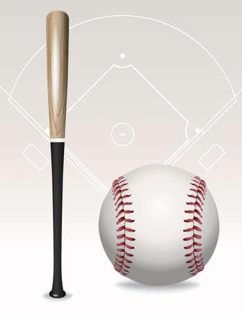 Een illustratie van een honkbalknuppel, honkbal, en in het veld overzicht.