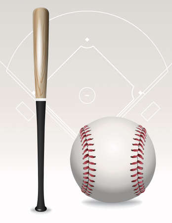 An illustration of a baseball bat, baseball, and field outline.