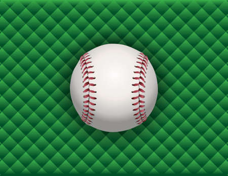 An illustration of a baseball sitting on a green checkered background.