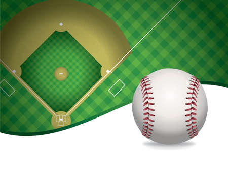 An illustration of a baseball and baseball field. Room for copy.