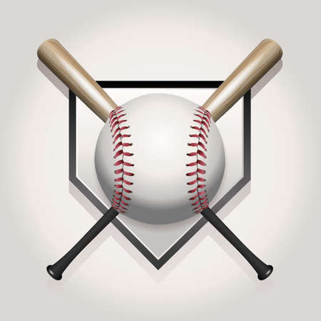 A baseball illustration made for a ball and two crossed bats over home plate. Vector