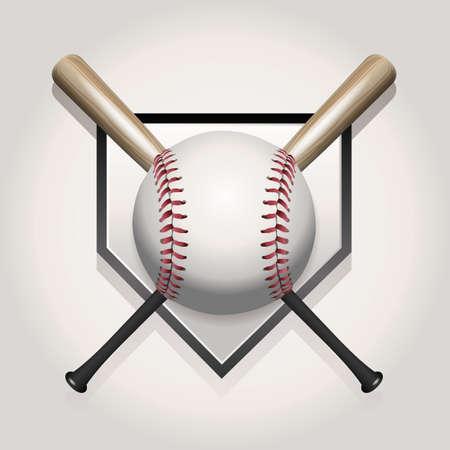 Een honkbal illustratie gemaakt voor een bal en twee gekruiste knuppels op de thuisplaat.