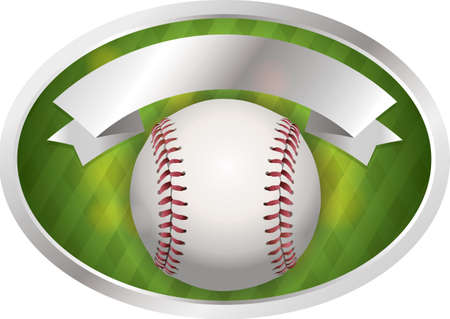 An illustration of a baseball and banner. Room for copy.