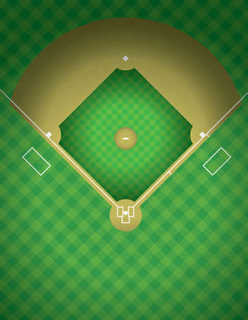 An arial view of a baseball field illustration.  Vector