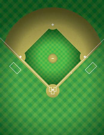campo de beisbol: Una vista aérea de una ilustración en el campo de béisbol. Vectores