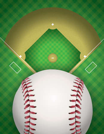 An illustration of a baseball field and baseball. Vector EPS 10 available. EPS file contains transparencies.