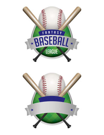 league: Illustrated baseball emblems. Fantasy Baseball League and plain emblem. Vector EPS 10 available. EPS file contains transparencies and gradient mesh.