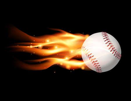 An illustration of a flaming baseball flying.
