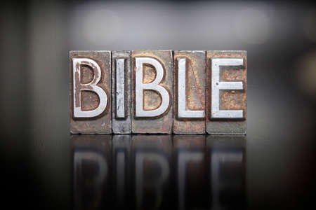 The word BIBLE written in vintage letterpress lead type