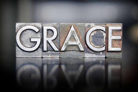 La parola GRACE scritta in tipo vintage tipografica piombo