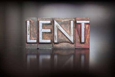 Het woord Lent geschreven in vintage boekdruk type lood