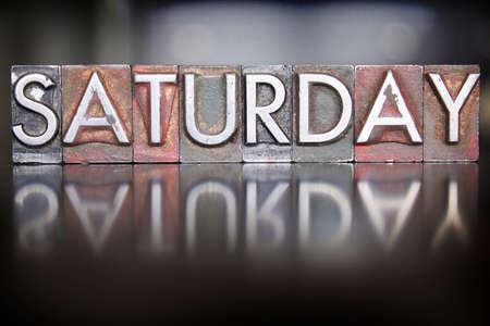 The word SATURDAY written in vintage letterpress type Stock fotó - 29765864