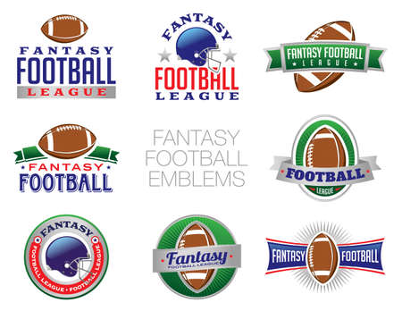 draft: Illustration of Fantasy Football emblem and badges. Vector EPS 10 available. EPS contains transparencies.