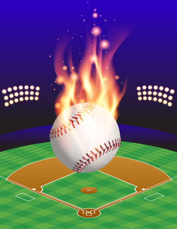 baseball field: An illustration of a flaming baseball above an aerial view of a baseball field. Vector EPS 10 available. EPS contains transparencies and gradient mesh.