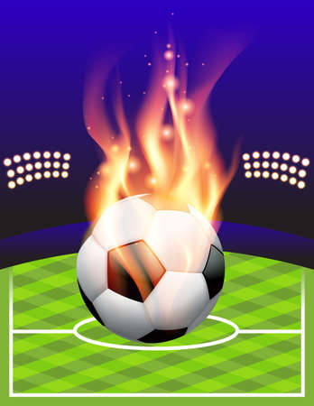 An illustration of a flaming soccer ball and stadium. Vector EPS 10 available. EPS contains transparencies and gradient mesh. Vector
