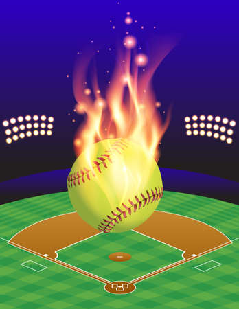 An illustration of a flaming softball above an aerial view of a softball field. Vector EPS 10 available. EPS contains transparencies and gradient mesh. Illustration