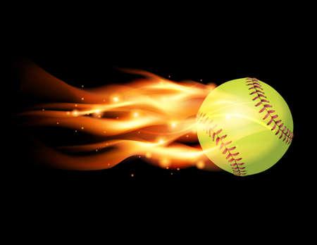 softbol: Una ilustraci�n de una pelota de b�isbol en llamas. Vector EPS 10 disponible. Archivo EPS contiene transparencias y malla de degradado.